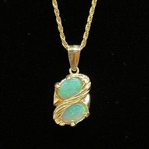 Stunning Double Stone Opal Swirl Pendant Necklace